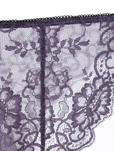 Bowknot Scalloped Lace Bra Set - PURPLE 70A Mobile