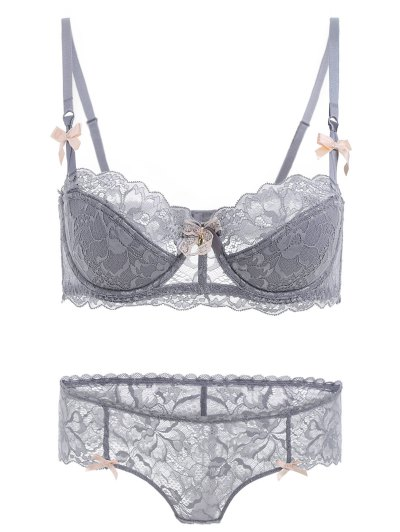 Cami See-Through Bowknot Bra Set - GRAY 80B Mobile