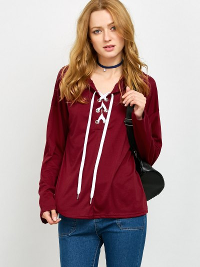 Long Sleeve Lace Up Hooded T Shirt - RED XL Mobile