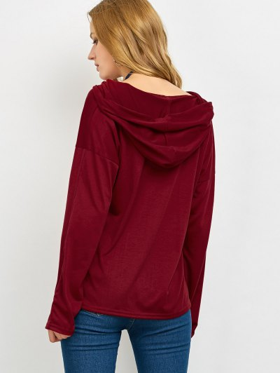 Long Sleeve Lace Up Hooded T Shirt - RED L Mobile