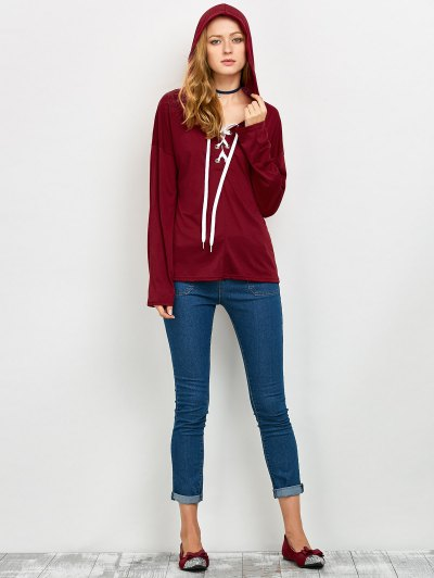 Long Sleeve Lace Up Hooded T Shirt - RED M Mobile