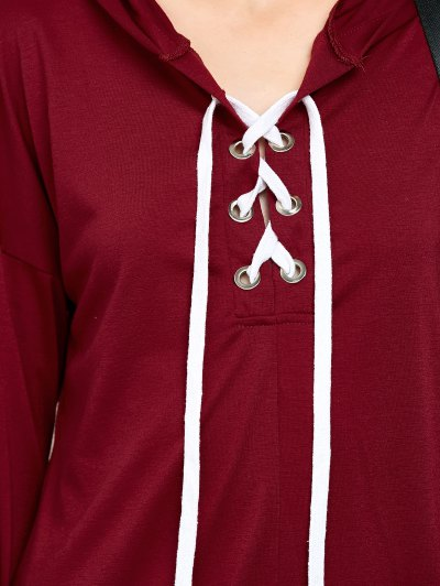 Long Sleeve Lace Up Hooded T Shirt - RED S Mobile