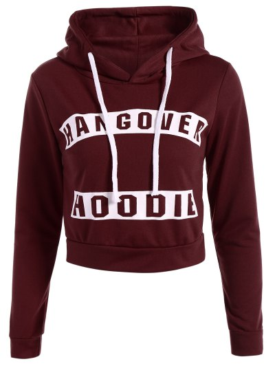 Hangover Cropped Hoodie - BURGUNDY S Mobile