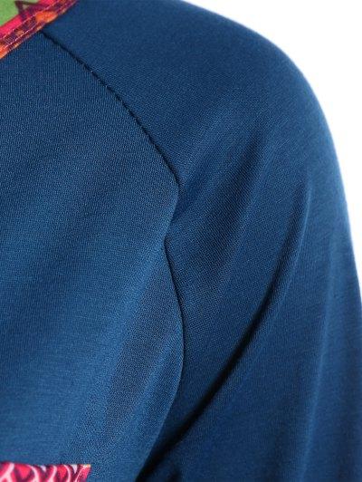 Pocket Round Neck Printed Tunic T-Shirt - LAKE BLUE XL Mobile