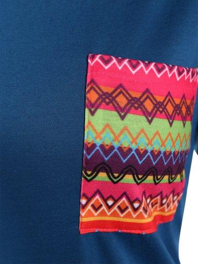 Pocket Round Neck Printed Tunic T-Shirt - LAKE BLUE M Mobile