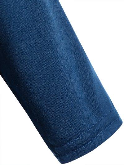 Pocket Round Neck Printed Tunic T-Shirt - LAKE BLUE S Mobile