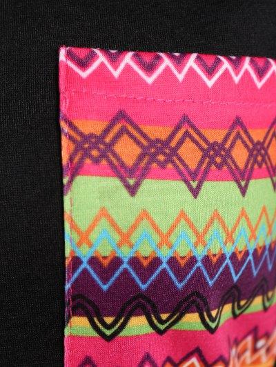 Pocket Round Neck Printed Tunic T-Shirt - BLACK XL Mobile