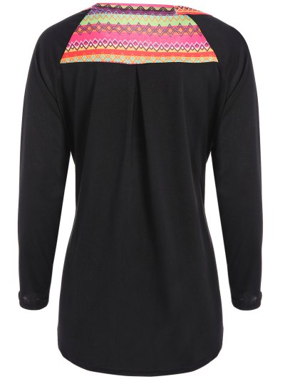 Pocket Round Neck Printed Tunic T-Shirt - BLACK L Mobile