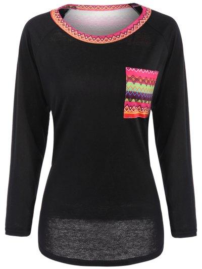 Pocket Round Neck Printed Tunic T-Shirt - BLACK M Mobile