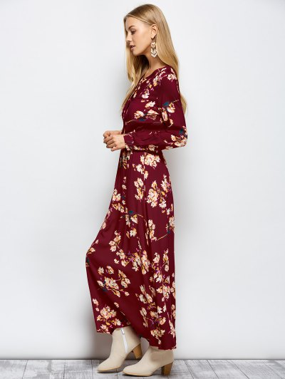 Long Sleeves Maxi Floral Dress - WINE RED L Mobile