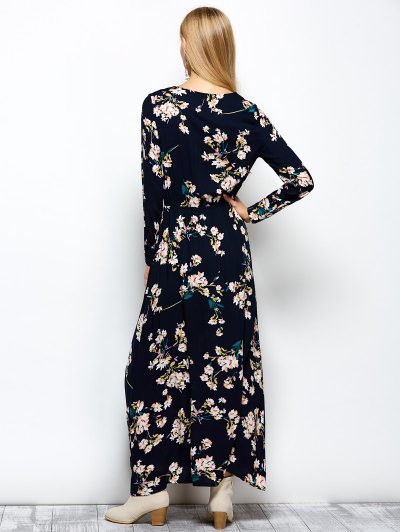 Long Sleeves Maxi Floral Dress - CADETBLUE L Mobile
