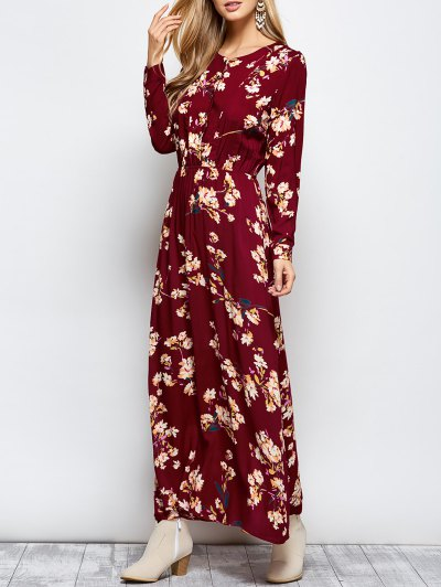 Long Sleeves Maxi Floral Dress - WINE RED M Mobile