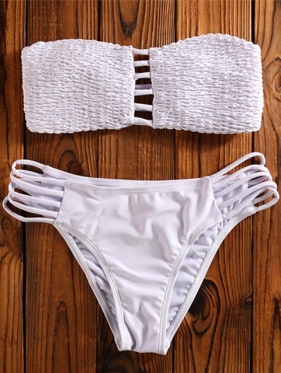 Cut Out Tube Bikini Set - WHITE S Mobile