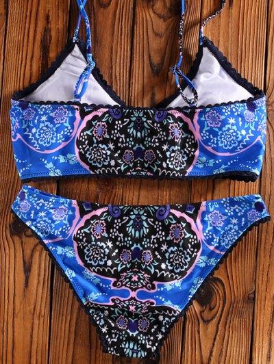 Printed Spaghetti Straps Unlined Bikini - BLUE M Mobile