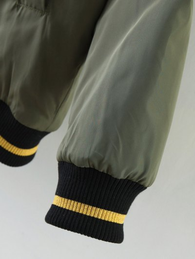 Patch Design Fur Collar Padded Bomber Jacket - BLACK M Mobile