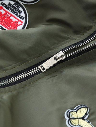 Patch Design Fur Collar Padded Bomber Jacket - GRAY L Mobile