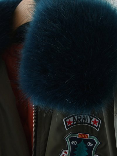 Patch Design Fur Collar Padded Bomber Jacket - GRAY S Mobile
