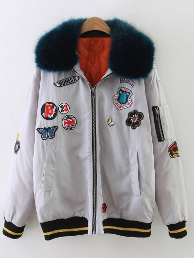Patch Design Fur Collar Padded Bomber Jacket - GRAY XS Mobile