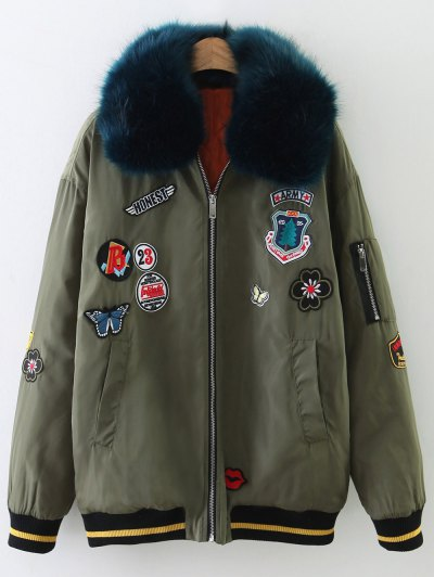 Patch Design Fur Collar Padded Bomber Jacket - ARMY GREEN L Mobile