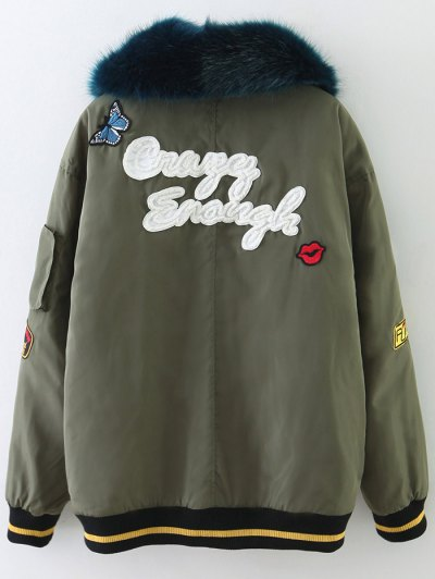 Patch Design Fur Collar Padded Bomber Jacket - ARMY GREEN XS Mobile