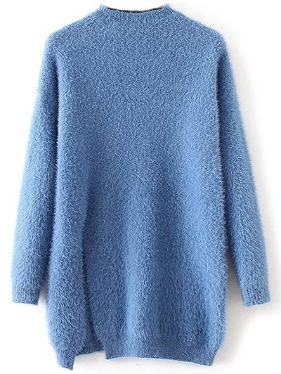 Slit Mock Neck Fuzzy Sweater - BLUE ONE SIZE Mobile