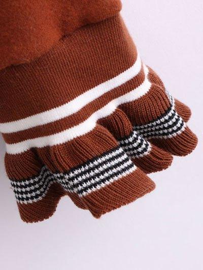 Ruffled Sleeve Crew Neck Knitwear - DARK AUBURN ONE SIZE Mobile