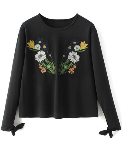 Floral Embroidered T-Shirt - BLACK L Mobile