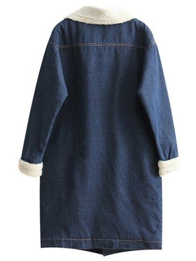 Loose Lamb Wool Denim Coat - BLUE M Mobile