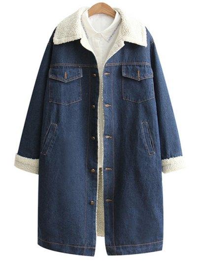 Loose Lamb Wool Denim Coat - BLUE S Mobile