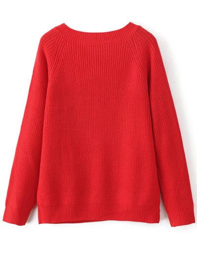 Casual V Neck Sweater - RED ONE SIZE Mobile
