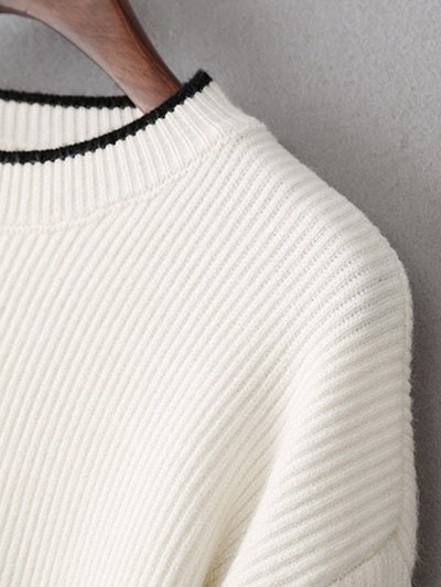 High-Low Slit OversizedSweater - WHITE ONE SIZE Mobile