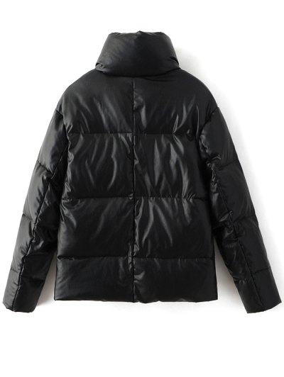Snap Button Quilted Down Jacket - BLACK M Mobile