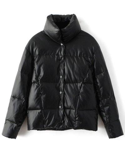 Snap Button Quilted Down Jacket - BLACK S Mobile