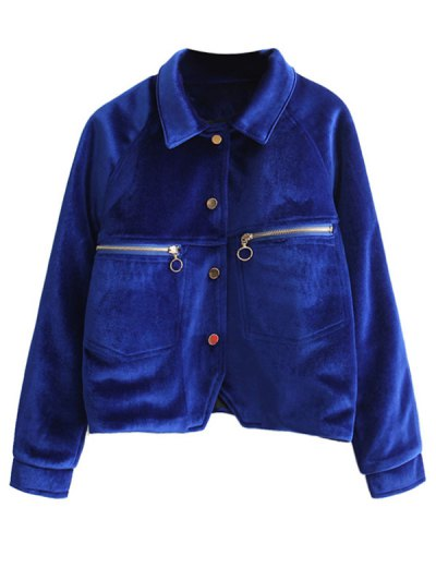Zipper Embroidered Velvet Jacket - DEEP BLUE L Mobile