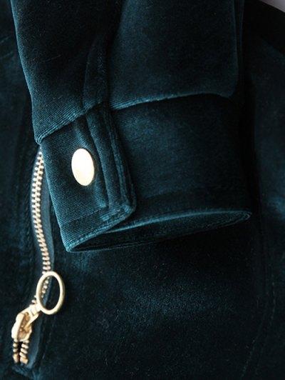 Zipper Embroidered Velvet Jacket - DEEP BLUE M Mobile