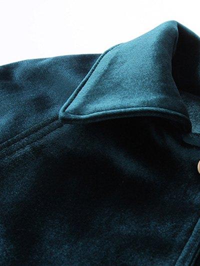 Zipper Embroidered Velvet Jacket - DEEP BLUE S Mobile