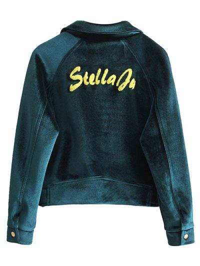 Zipper Embroidered Velvet Jacket - BLACKISH GREEN L Mobile