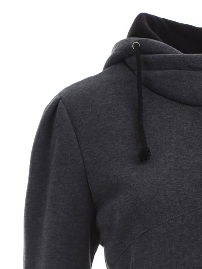 High Neck Drawstring Hoodie - GRAY XL Mobile