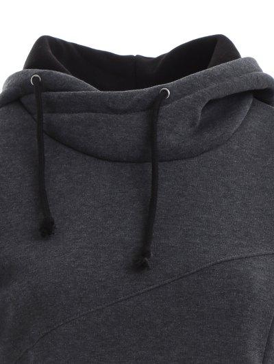 High Neck Drawstring Hoodie - GRAY L Mobile