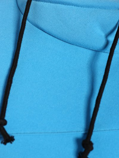 High Neck Drawstring Hoodie - BLUE XL Mobile