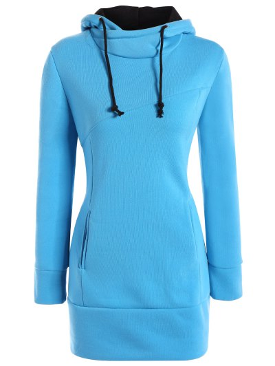 High Neck Drawstring Hoodie - BLUE S Mobile