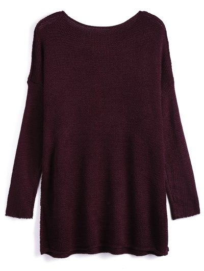 Dropped Shoulder Oversized Sweater - WINE RED XL Mobile