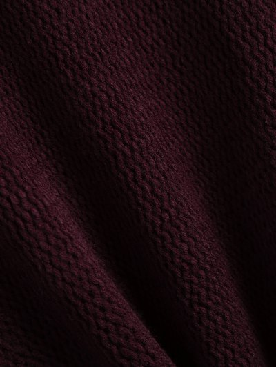 Dropped Shoulder Oversized Sweater - WINE RED S Mobile