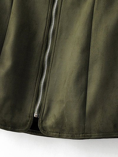 Zippered Suede Mini Skirt - ARMY GREEN M Mobile