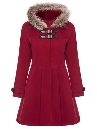 A Line Wool Blend Hooded Coat - RED M Mobile