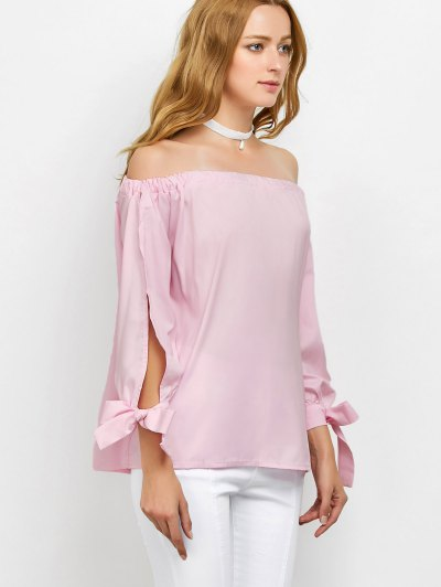 Split Sleeve Off The Shoulder Blouse - PINK L Mobile