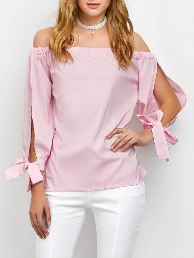 Split Sleeve Off The Shoulder Blouse - PINK M Mobile