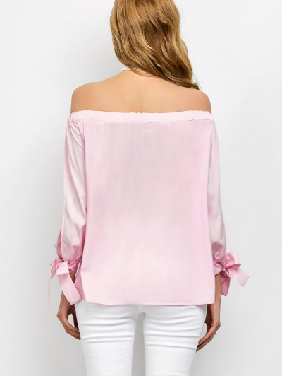Split Sleeve Off The Shoulder Blouse - PINK S Mobile