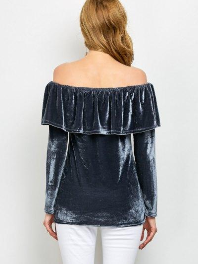 Velvet Off Shoulder Ruffles T-Shirt - GRAY XL Mobile