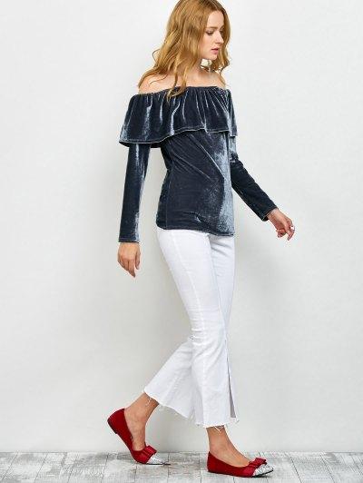 Velvet Off Shoulder Ruffles T-Shirt - GRAY S Mobile